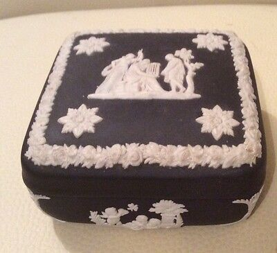 Wedgwood Black Jasperware  Square Trinket Box