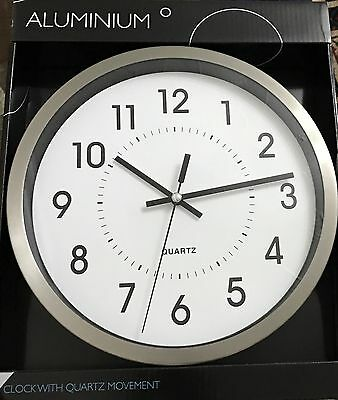 New Aluminium Clock With Quartz Movement Silver And Black Best Gift