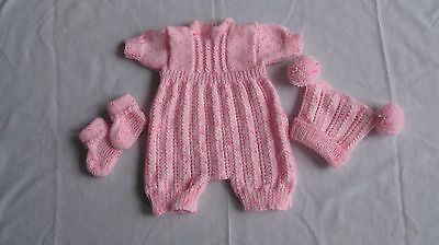 Hand Knitted Romper Suit For A 19-21 Inch Reborn Baby.
