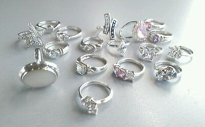 JOB LOT 17 NEW STERLING SILVER RINGS. Various stones.  Shop Clearance. 65 grams