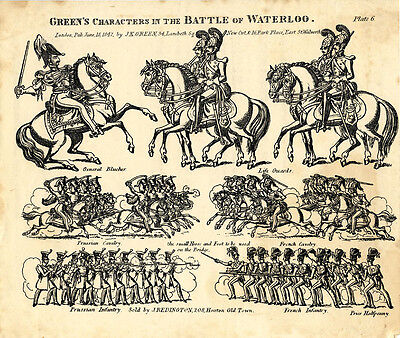 Original Toy Theatre Sheet - Green's Battle of Waterloo Characters 6 - Plain
