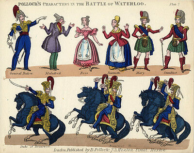 Original Toy Theatre Sheet - Pollock Battle of Waterloo Characters 7 - Coloured