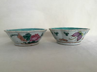 Antique Pair Chinese Porcelain Scalloped Bowls Hand Painted Flowers Butterflies