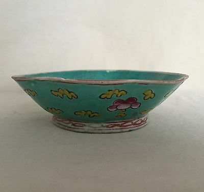 """Antique Chinese Porcelain Scalloped Bowl Hand Painted Flowers Marked """"China"""""""