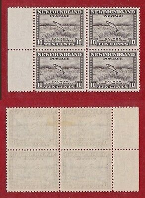 1932-1937 Newfoundland  Canada Stamps  Block of 4 # 193 Salmon Leaping Falls NH