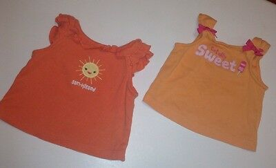 GYMBOREE Baby Girl Clothes 2 Piece Lot Of 2 Tank Tops Size 3-6 & 6-12 Months