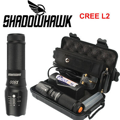 5000lm Genuine Shadowhawk X800 Tactical Flashlight LED Zoom Military Torch  HOT