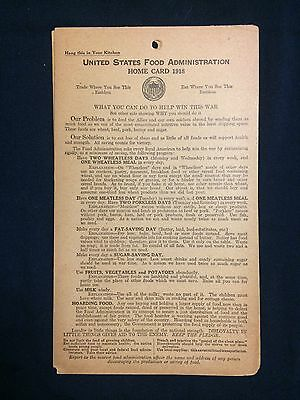 WWI 1918 Hoover US Food Administration Home Card Save Food