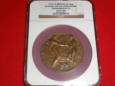 1915 Pan Pac Expo Award Medal Ngc Ms63 Ppie Bronze 70.5Mm