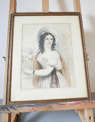 Antique Victorian Monochrome Print and Frame of a Girl - Gothic and Dramatic