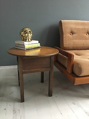 Vintage Wooden Sewing Box Table mid-century bauhaus danish antique