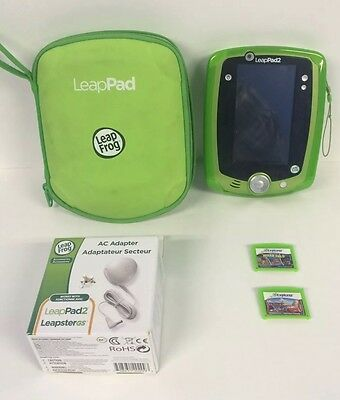 LeapFrog LeapPad 2 Learning Tablet - Cover, Case, AC & Car Adaptor And 2 Games
