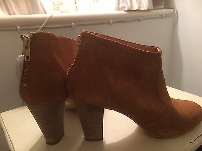 Dune Tan Suede Ankle Boots Size 6 New
