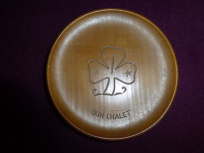 Used Collectable Girl Guide Souvenir 'our Chalet' Wooden Pin Dish / Bowl