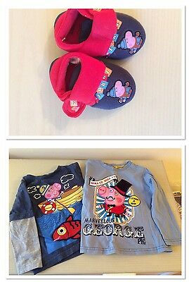2 Peppa Pig Tops & Slippers 18months - 2 years