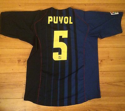 Rare Vintage Barcelona Away Puyol Football Shirt Jersey Nike 2004