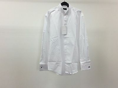 Mens White Wing Plain Formal Tuxedo Dinner Dress Shirt Size 15 1/2 - 3A228
