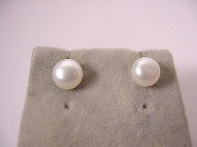 Vtg Lustrous Real White Pearl Ips Jewelry Sterling Silver Post Pierced Earrings