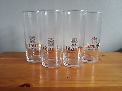 4x Grant's Scotch Whisky Tall Glasses