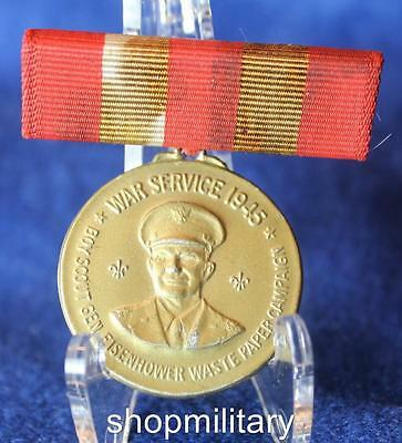 1945 Boys Scout War Service Eisenhower Medal Ribbon Waste Paper Campaign Pin