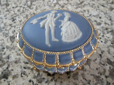 Wedgewood Color Blue Victorian Couple Musical Trinket Box