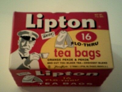 Vintage Free Sample LIPTON TEA BAGS 16 Full Box 1950's - 1960's Mint Condition