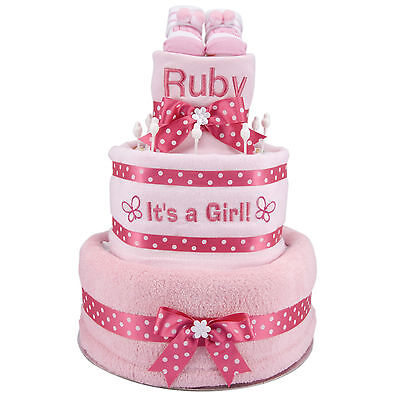 Large pink /blue nappy cake NEWBORN BABY SHOWER GIFT SET ITS A BOY GIRL NAME NEW