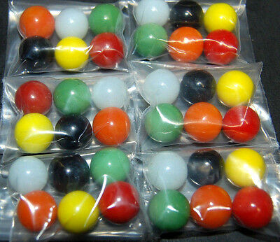 36 Game Replacement Marbles-Chinese Checkers Red Black Orange Green White Yellow