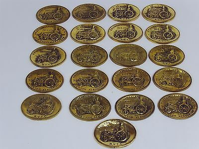 A Collection of 21 Northumberland Vintage Tractor Club Brass Plaques