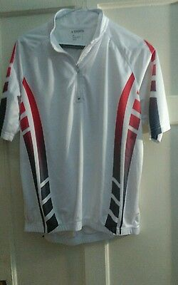 NEW mens white short sleeve cycling top size L by 4 Sports