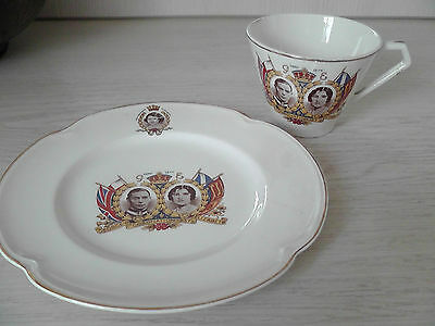 King George the V1 & Queen Elizabeth May 12 1937 Cup Plate Johnson Bros Parleek