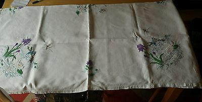 Vintage Hand Embroidered White Linen Tablecloth Kingfishers - 46 X 48