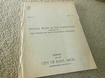 Vintage Rare February 1931 Issue Fire Underwriters Report On City Of Flint, Mich