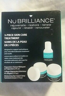 NuBrilliance 3 Piece Treatment System Microdermabrasion New! Cleanse, Regenerate