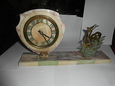 French art deco marble/bronze/spelter statue of leaping deer and clock