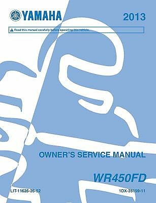 Yamaha owners service workshop manual 2013 WR450F (D)