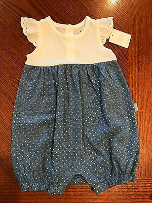 Nwt Baby Gap Girls Eyelet White Blue Dot Romper One Piece New 0-3 Months