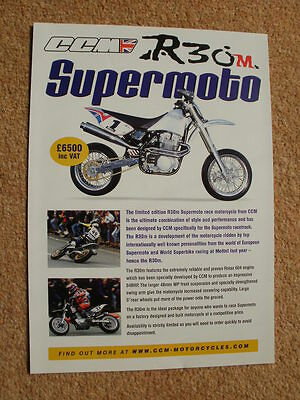 Genuine original CCM R30M Supermoto individual brochure 2002