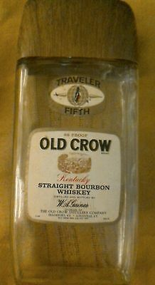 Rare Vintage 70's Old Crow Whiskey traveler fifth briefcase bottle.