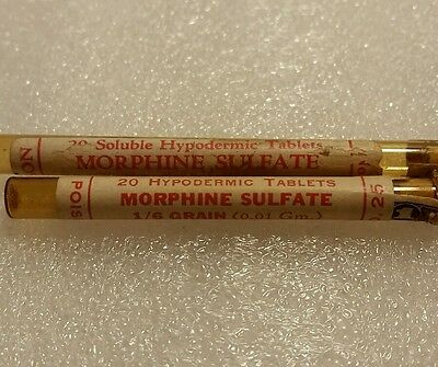 ** MORPHINE SULFATE  ** ~ Set of 2 amber vials ~ Label, TAX STAMP, Cork ~ MINT