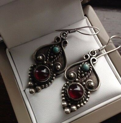 925 sterling silver vintage dangle earrings with turquoise and garnet