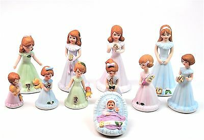 Lot 11 Growing up Girls Enesco Brunette Age Baby - 10 Birthday Figurine Box ed