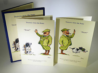10 Bryn Parry UK Artist Note Cards Rare Collectable Set Cartoon Dogs Training