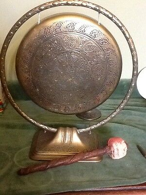 Vintage / Antique Brass Dinner Gong With Wooden Strike