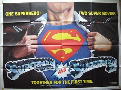 SUPERMAN & SUPERMAN 2 (1980) Original Double Bill Quad Poster, Christopher Reeve