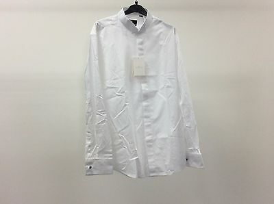 Mens White Wing Plain Formal Tuxedo Dinner Slim Dress Shirt Size 16 1/2 - 3A232