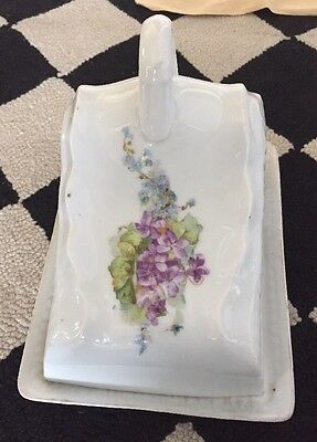 Antique Large VICTORIAN Violets PORCELAIN COVERED CHEESE BUTTER TRAY KEEPER