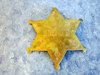 Vintage Solid Brass Costume Sheriff Badge Pin Six Point Star Made In India