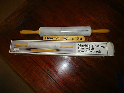 Gourment Marble Rolling Pin with Rack - Brand New