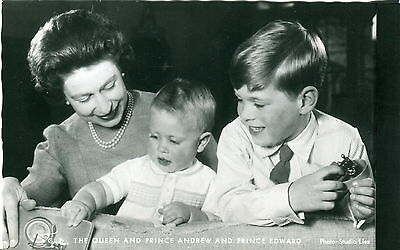 Queen Elizabeth wth Prince Andrew, Edward. Real Photograph Postcard Uncirculated